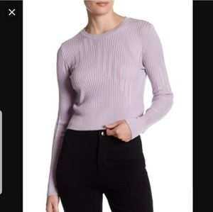 Cutabout Ribbed Crop Sweater Lilac Purple
